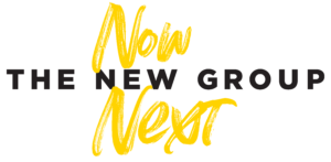 """Logo for The New Group Now & Next Fundraising Campaign which includes the traditional New Group logo in black with the words """"Now"""" and """"Next"""" in a handwritten font above and below it."""